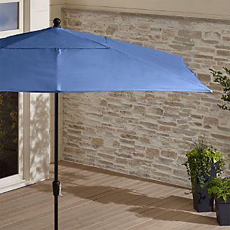 Rectangular Sunbrella ® Mediterranean Blue Patio Umbrella with Black Frame