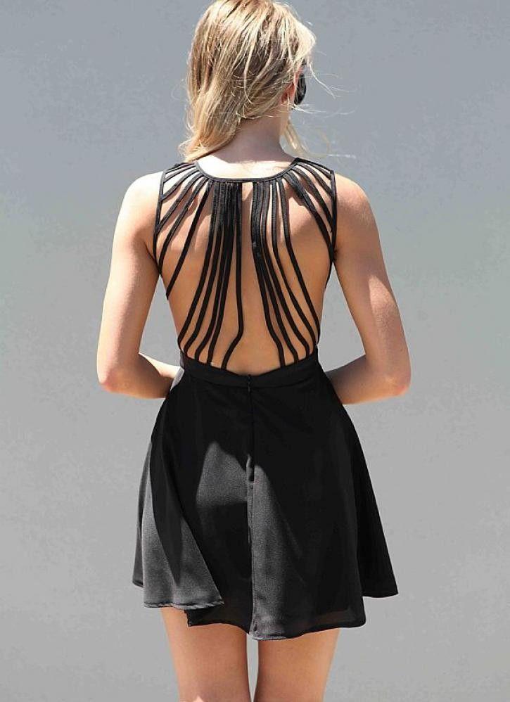 Black Sleeveless Dress with Lattice Open Back