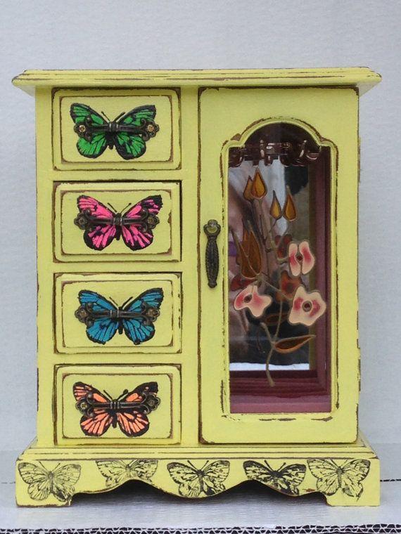 Vintage jewellery box reworked jewelry box shabby chic by artdp