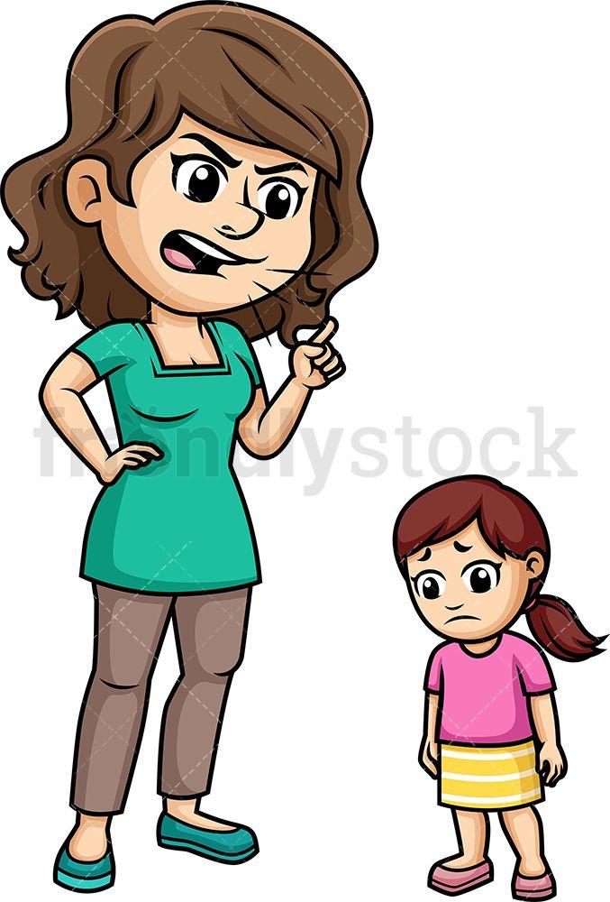 Mom Yelling At Her Daughter Cartoon Vector Clipart Friendlystock Cartoons Vector Cartoon Clip Art Cartoon