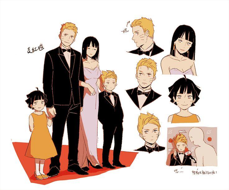 Boruto, Naruto, Himawari, Hinata, I love what they have done to Boruto's and Naruto's hair.