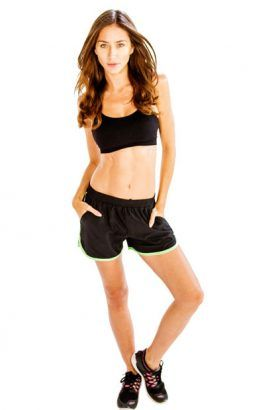 Wholesale Black Sports Bra With Black And Neon Green Shorts