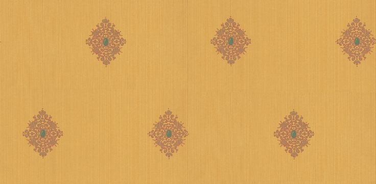 Filigree (310444) - Zoffany Wallpapers - A gilded Filigree motif with a precious stone in the centre of the motif on a strie stripe background. Showing in Saffron. Other colours are available. Please request a sample for true colour match.