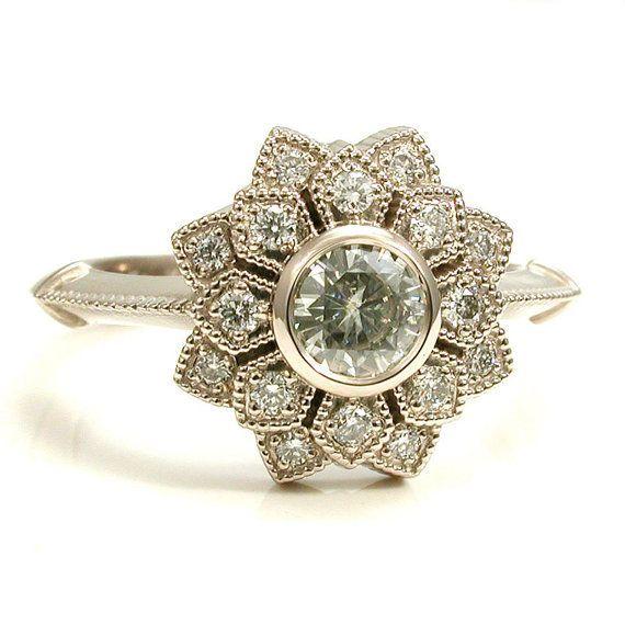 Anel de noivado em pétala dupla Moissanite e diamante Art Deco – ouro branco de paládio 14k   – pretty little things