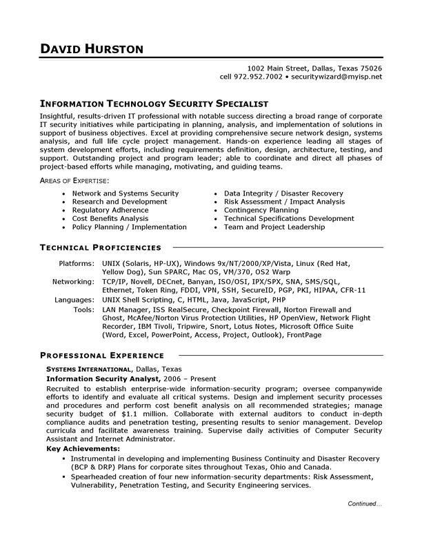 16 best Cv images on Pinterest Resume examples, Project - security objectives for resume