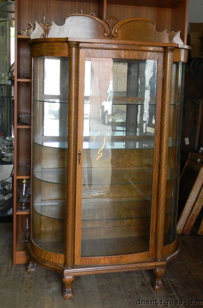 Antique Victorian Quartered Oak China Cabinet Curved Glass Mirror Back Paw  Foot - 91 Best Victorian China Cabinets Images On Pinterest China