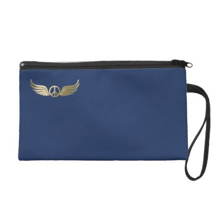 Metal look peace symbol with wings wristlet - metal style gift ideas unique diy personalize