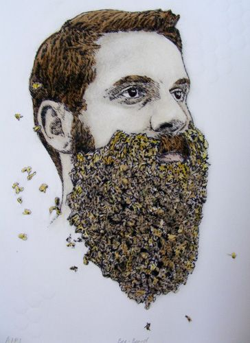 E A Hansen, Bee Beard, dry point etching, embossing and water colour, 2013
