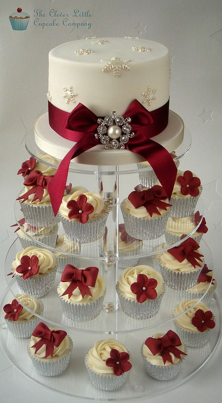 Ivory and Burgundy Wedding Cupcakes   Set up today, but the …   Flickr