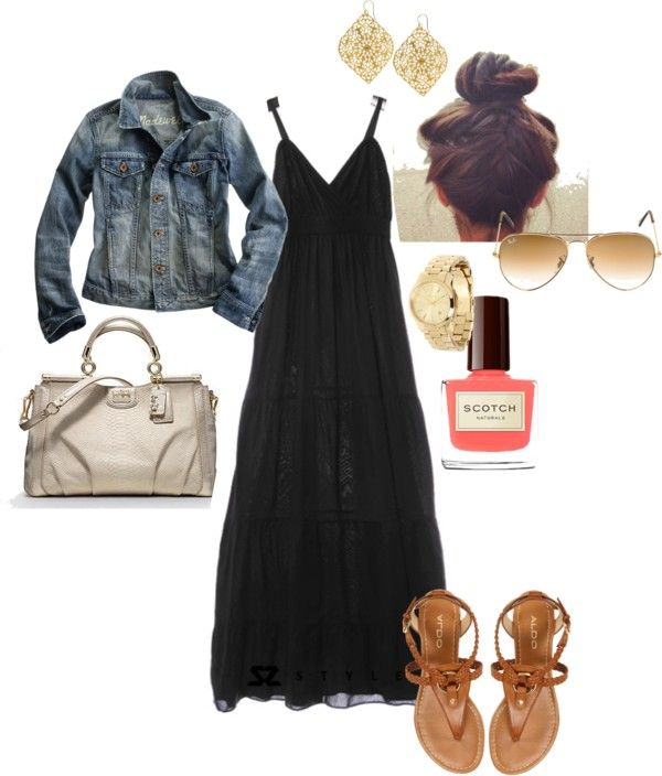I love the black maxi dress with the blue jean jacket!