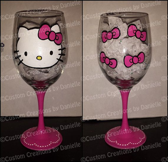 Hey, I found this really awesome Etsy listing at https://www.etsy.com/listing/183139514/hello-kitty-wine-glass
