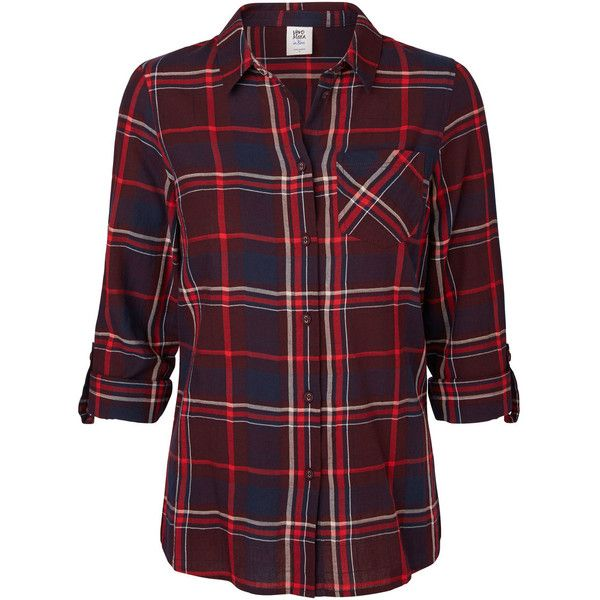 Vero Moda Chequered Long Sleeved Shirt (37 CAD) ❤ liked on Polyvore featuring tops, shirts, long sleeve shirts, long sleeve tops, long sleeve checkered shirt, purple checkered shirt and sleeve shirt