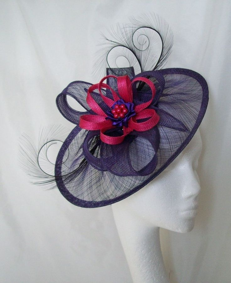 Dark Liberty Purple Cerise Pink Cecily Pheasant Curl Feather Sinamay Loop And Pearl Fascinator Saucer