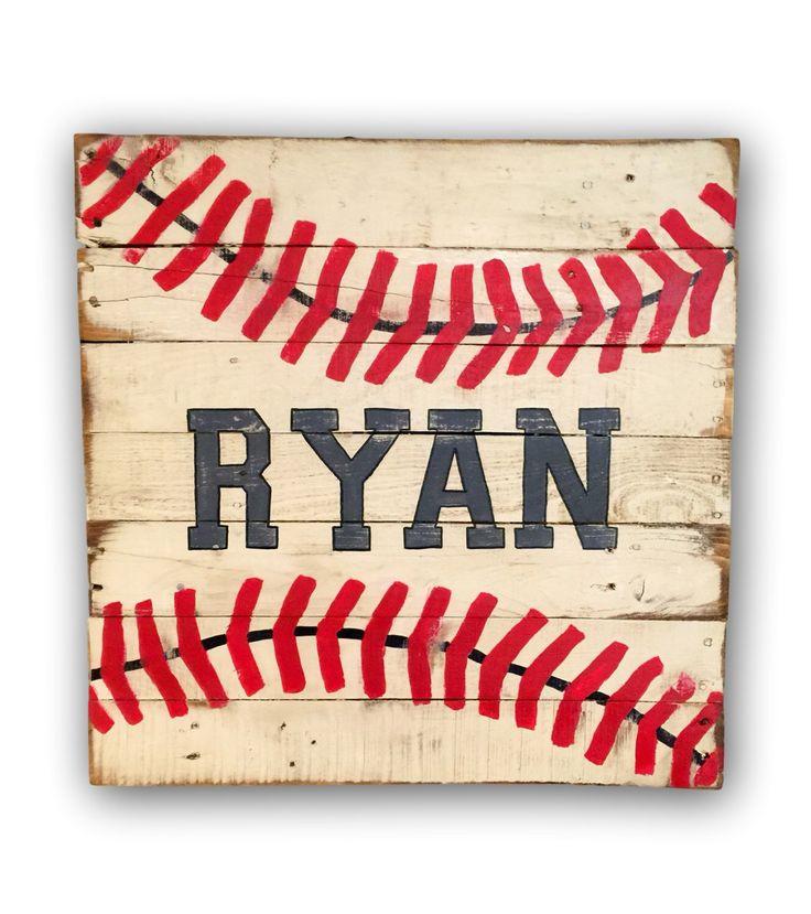 Rustic Baseball Sign/ Sports Decor/ Customized Nursery Sign by PalletsandPaint on Etsy https://www.etsy.com/listing/245049197/rustic-baseball-sign-sports-decor