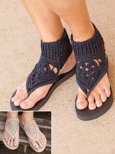 ANNIE'S SIGNATURE DESIGNS: Fancy Flip-Flops crochet pattern designed by Lena Skvagerson for Annie's. Order here: https://www.anniescatalog.com/detail.html?prod_id=137832&cat_id=468