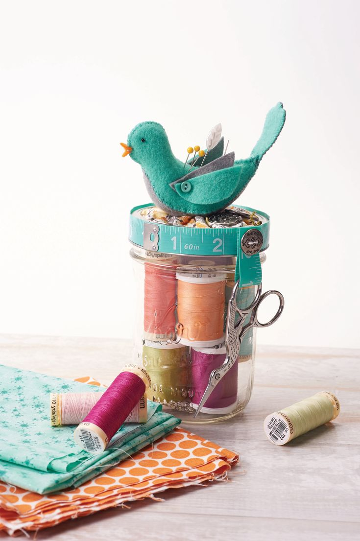 Beautiful Bird Sewing Jar  •  Free tutorial with pictures on how to make a jar & pot pin cushions in under 60 minutes #howto #tutorial