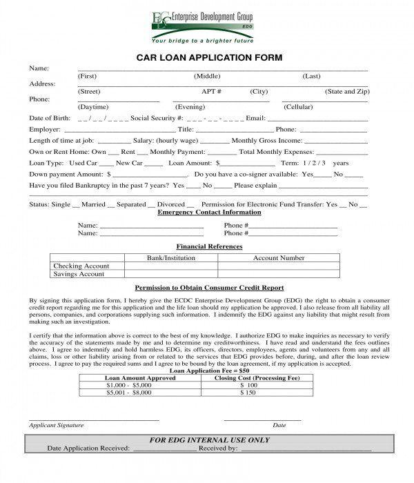 Car Loan Application Form Template Luxury 3 Car Loan Application Forms Pdf In 2020 Loan Application Application Form Car Loans