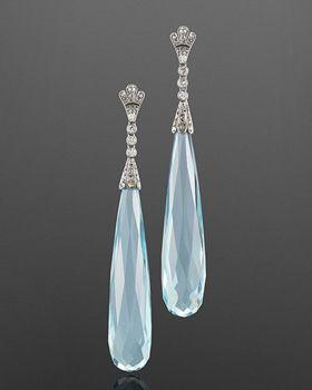 Art Deco Aquamarine and Diamond Pendant Earrings, circa 1920s - Fred Leighton