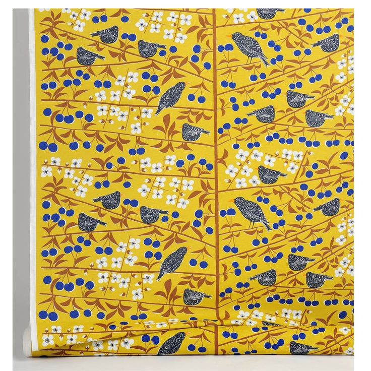 The firm favourite Cherry Orchard features cherries and blackbirds by Swedish designer Marianne Westman from 1950. Great for Roman blinds or cushions to create a retro Swedish kitchen. Available from www.newhousetextiles.co.uk