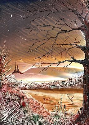 "***PRINT*** FANTASY ENCAUSTIC WAX ART LANDSCAPE PRINT ""When the Light Fades"""