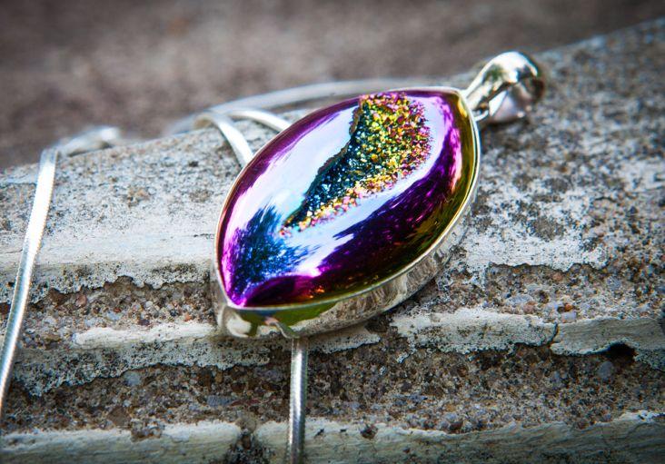Avazera Balance Collection -925 Sterling Silver, Purple Druzi Agate Pendant