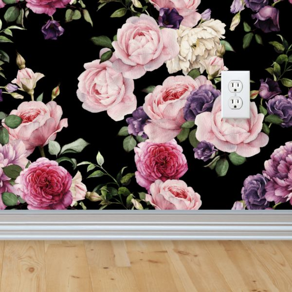 Vintage Floral Wallpaper from rockymountaindecals.ca   Floral Wallpaper, Removable Wallpaper, Vintage Wallpapers, Vintage Pink Wallpaper, Vintage Wallpaper Rolls, Wallpaper Rolls
