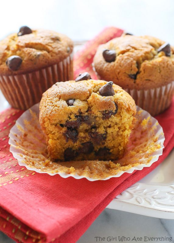 These Pumpkin Chocolate Chip Muffins are moist pumpkin spiced treats dotted with chocolate chips. This is the only pumpkin chocolate chip muffin recipe you will ever need. the-girl-who-ate-everything.com