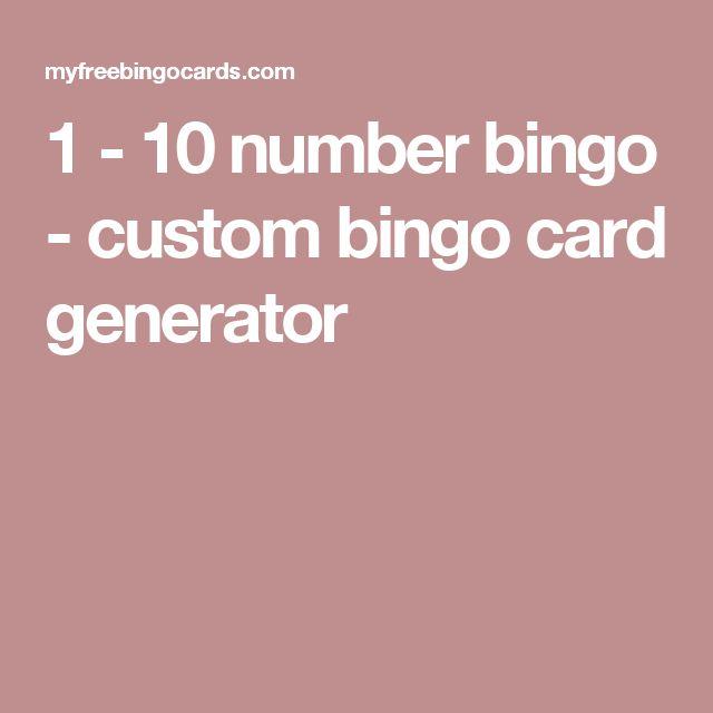1 - 10 number bingo - custom bingo card generator