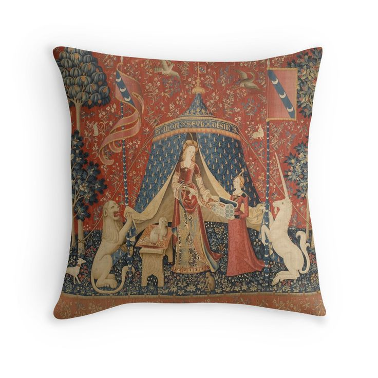 The Lady and the Unicorn: À Mon Seul Désir Throw Pillows
