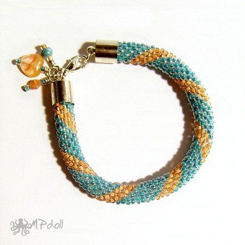 Straps and Stripes  Bead Crochet Bracelet Crochet Rope Beaded