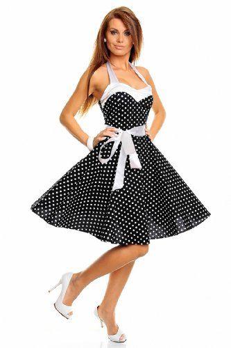 Neckholder Rockabilly Kleid 50er Jahre mit Pünktchen, schwarz-weiß L/XL Princess Brautmoden http://www.amazon.de/dp/B00IJGFR14/ref=cm_sw_r_pi_dp_ONmJwb1FDH64E