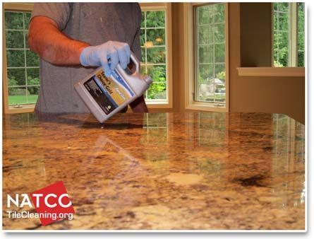 applying a sealer to granite countertop
