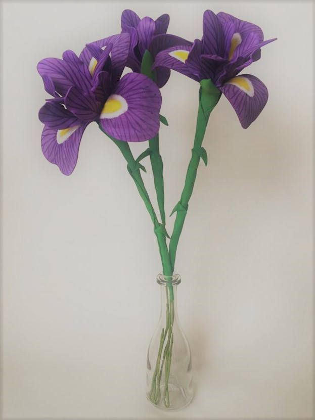 Purple Iris flower craft foam Floral home decoration Home Gift for loved ones Birthday Mothers day gift by MariasFlowersArt on Etsy