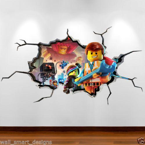 LEGO MOVIE CRACKED WALL Emmit 3D Full Colour Wall Art Sticker Decal Boys Bedroom | eBay
