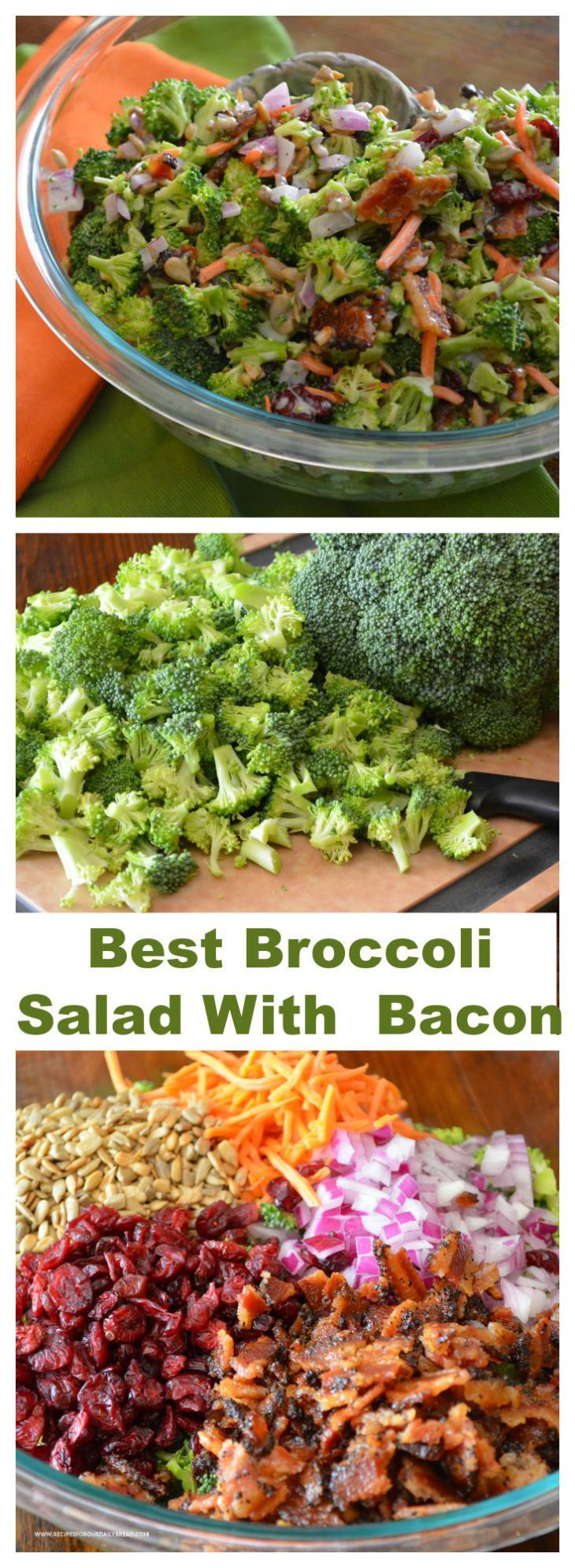 How to Make Awesome Colorful Broccoli Salad With Bacon? - I have tried many Broccoli Salad with bacon recipes over the past 20 years, but this combination is my favorite.   SEE FULL RECIPE HERE: http://recipesforourdailybread.com/best-broccoli-bacon-salad-recipe/