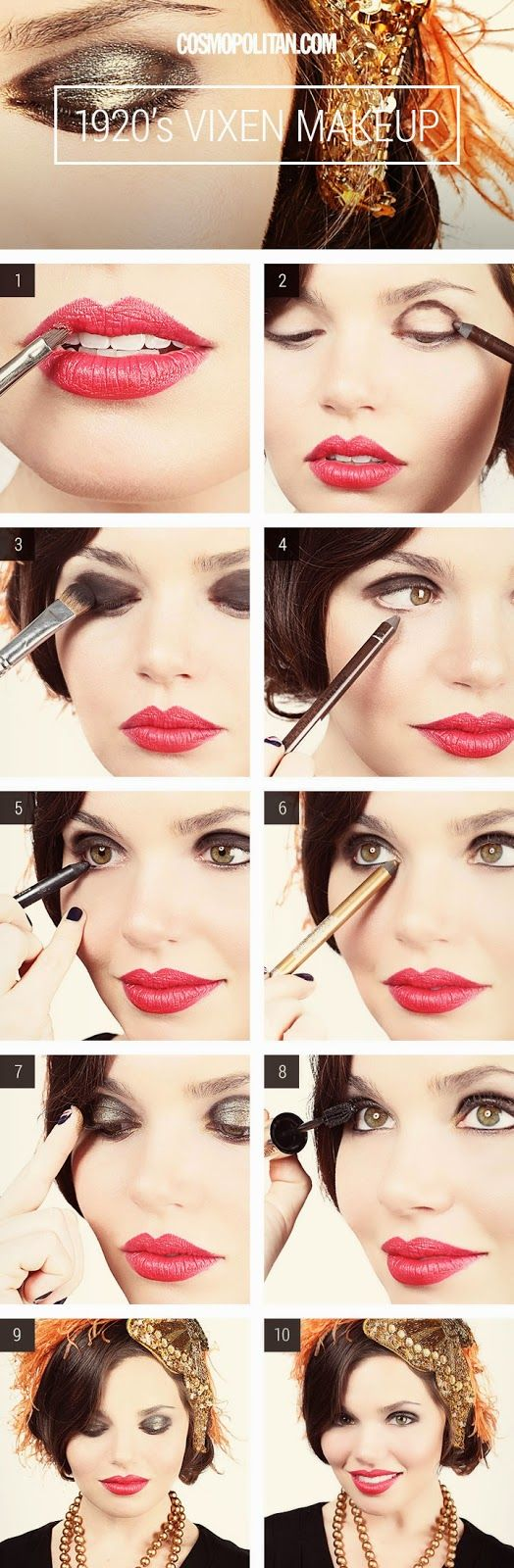 Bright red lips, instead of dark, also make for a great 1920's inspired look when paired with natural toned eyeshadow. This is a more subtle statement – but don't be afraid to experiment until finding a style that suits you best!