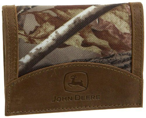 John Deere Mens Tri Fold Wallet In Gift Box, Camouflage, One Size John Deere. $20.00. 100% leather. Interior id window with thumb slot currency pockets, four credit card pockets. Packaged in john deere green box with yellow logo and john deere script on lid. Machine wash