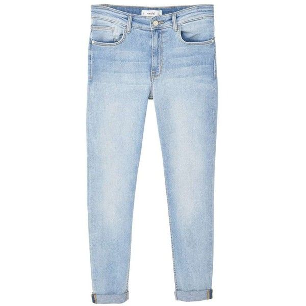 MANGO Soho skinny jeans ($60) ❤ liked on Polyvore featuring jeans, pants, bottoms, trousers, high rise skinny jeans, cuffed skinny jeans, light wash high waisted skinny jeans, high-waisted jeans and denim skinny jeans