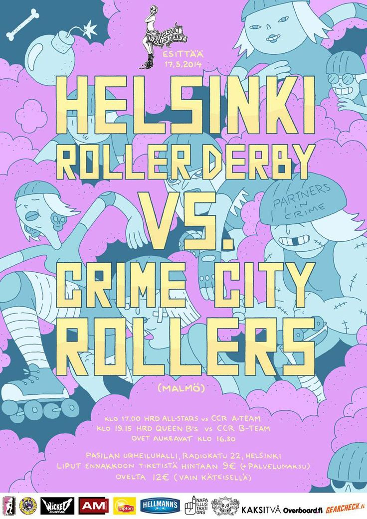 Illustrations by Mikko Saarainen for Helsinki Roller Derby, 2014
