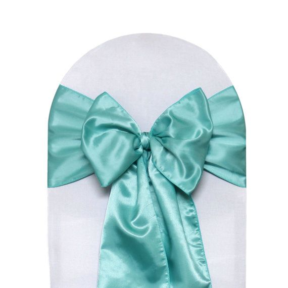 Robin Egg Satin Chair Sashes Pack Of 10 Wedding Chair