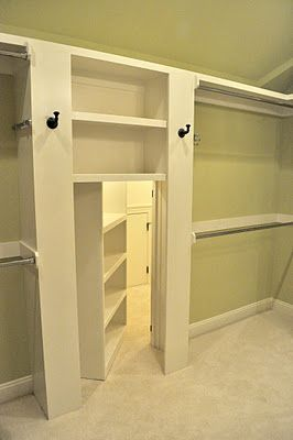 Secret room behind the closet-this would be a good place for a safe room!