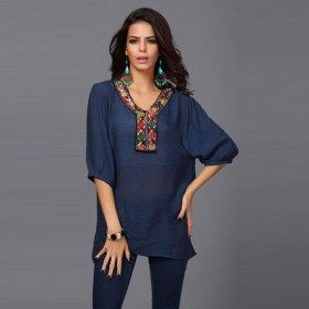 Embroidery Beaded V Neck Half Sleeves T-shirt