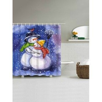 Christmas Snowmen Lover Print Waterproof Fabric Shower Curtain - COLORMIX COLORMIX