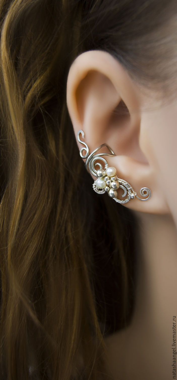 Wire wrap ear cuff   Купить Кафф, украшение с жемчугом (клипсы, белые серьги жемчуг, жемчужный) - кафф, каффы