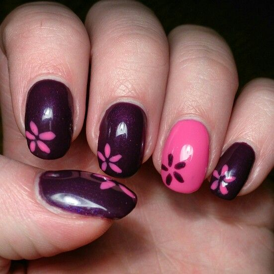 #nails #design #pink #purple #spring