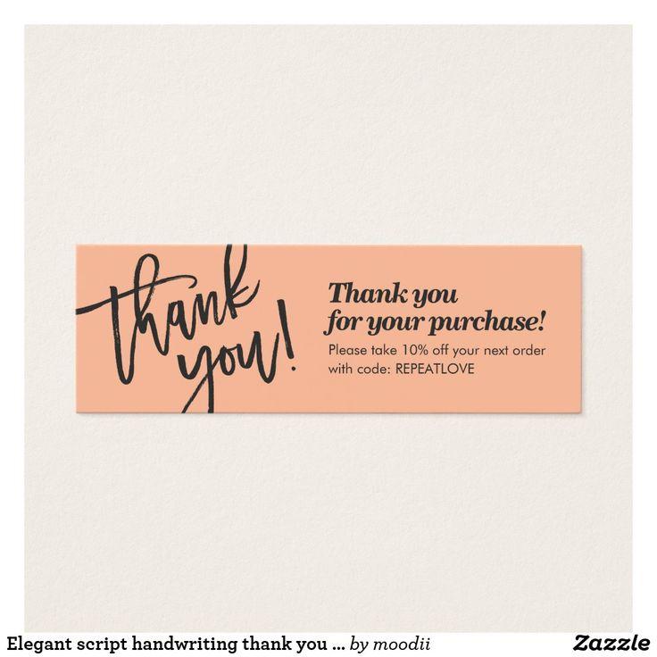 Elegant script handwriting thank you coral peach zazzle
