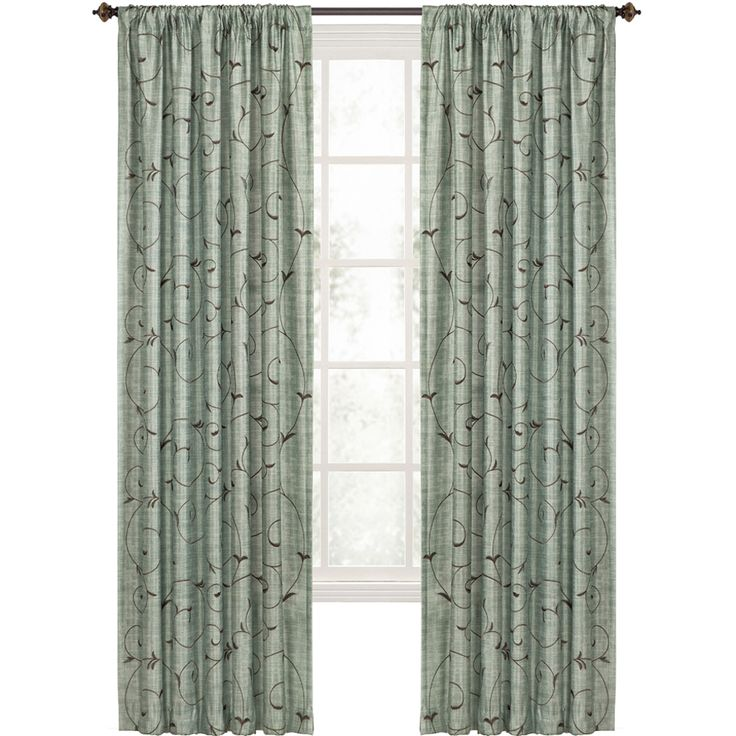 shop style selections 84in l blue rod pocket curtain panel at lowescom