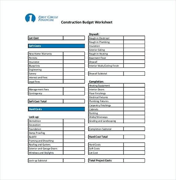 construction budget worksheet , 9 Construction Budget Template - how to make a budget spreadsheet on excel
