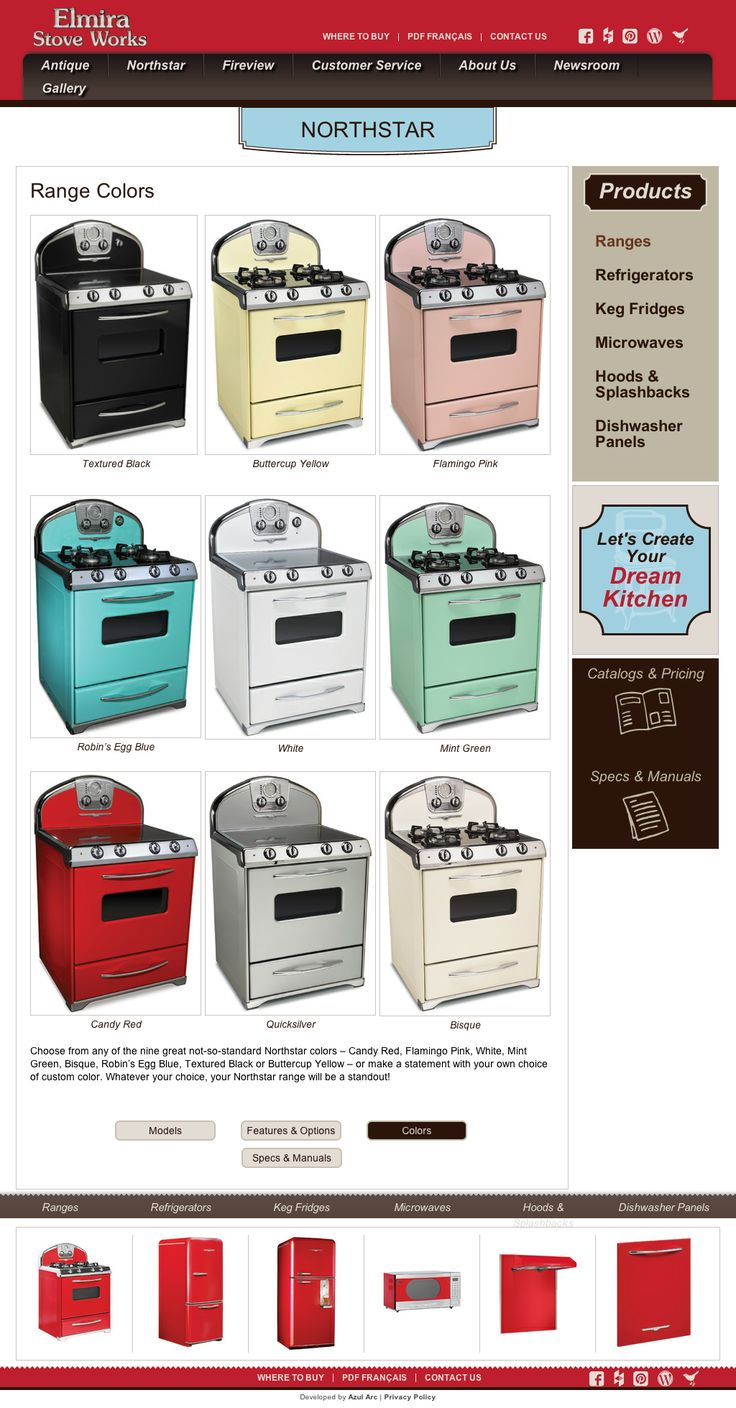 Beautiful retro pastel and bold colors to make your appliances stand out. Northstar retro ranges by Elmira Stove Works come in these colors. http://www.elmirastoveworks.com/northstar/ranges/colors/