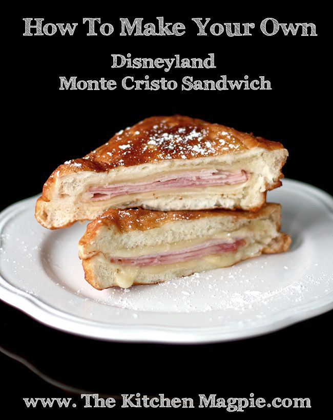 Disneyland Monte Cristo Sandwiche-Sweet Batter Ingredients: 1 cup flour 2 tsp. baking powder 1 large egg ¾ cup of milk ¼ tsp. salt 2 tablespoons sugar Sandwich Ingredients: 8 slices Swiss cheese 8 slices Turkey 8 slices Ham 8 slices Texas Style White Bread or any square formed white bread Vegetable Oil - an inch deep in a large skillet Powdered Sugar Raspberry jam for dipping
